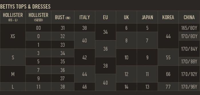 Hollister Shirt Size Chart uk af Hollister Shirt Size Chart