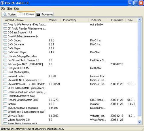 Free PC Audit偵測系統內所安裝的軟體資訊