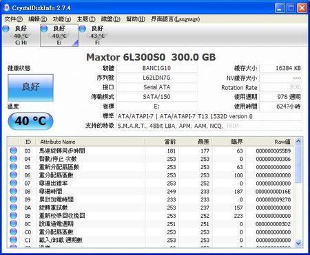 CrystalDiskInfo顯示筆者另外一顆320G硬碟,品牌Maxtor