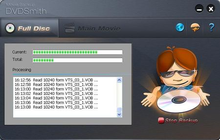 DVDSmith Movie Backup破除防拷後並進行備份至硬碟的動作