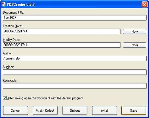 PDFCreator列印機轉PDF,設定檔名及存檔位置
