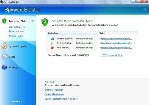 反間諜軟體SpywareBlaster啟動瀏覽器保護