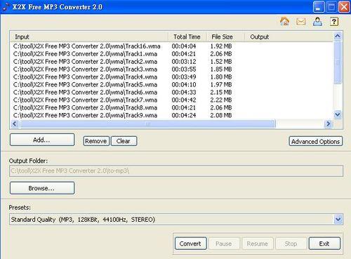 X2X Free MP3 Converter試範將WMA轉MP3