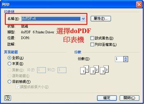 轉換PDF文件,只要使用列印的功能並選擇doPDF印表機