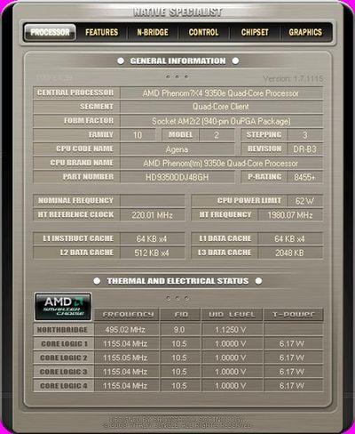 Native Specialist詳細列出這顆AMD64處理器的時脈、步進、快取等內容