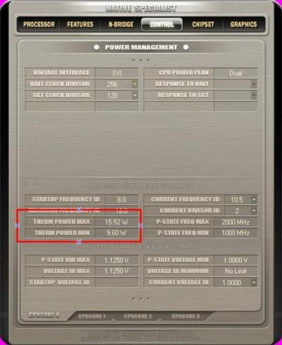 Native Specialist可以列出這顆AMD phenom 9350e的最大及最小耗電