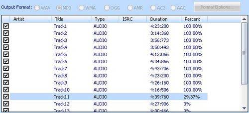Free CD Ripper,開始進行cd音軌轉mp3檔案