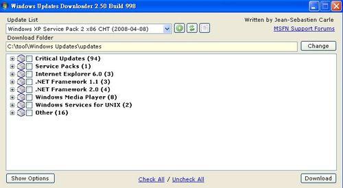 Windows Updates Downloader顯示可更新的所有項目