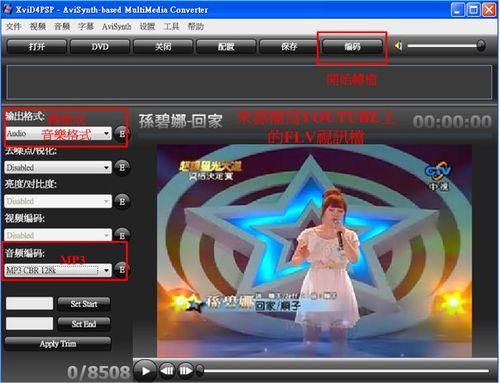 XviD4PSP式範將flv視頻轉成mp3音樂檔案