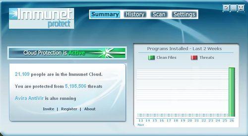 Immunet Protect防毒軟體介面,與小紅傘防毒軟體協同防護