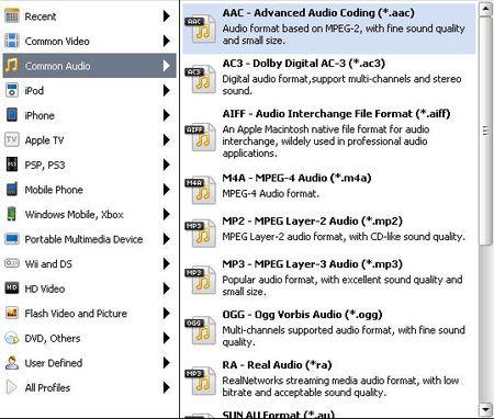 圖示顯示支援影片格式轉音樂格式的類型